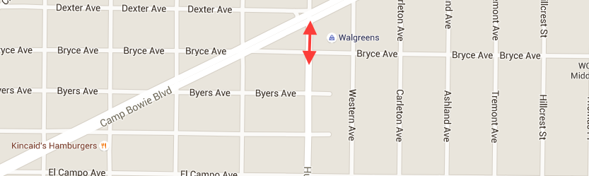 Map showing Bryce Ave to Camp Bowie Blvd via Hulen St highlighted