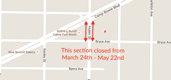 map showing the two blocks of Hulen just south of Camp Bowie that will be closed for construction